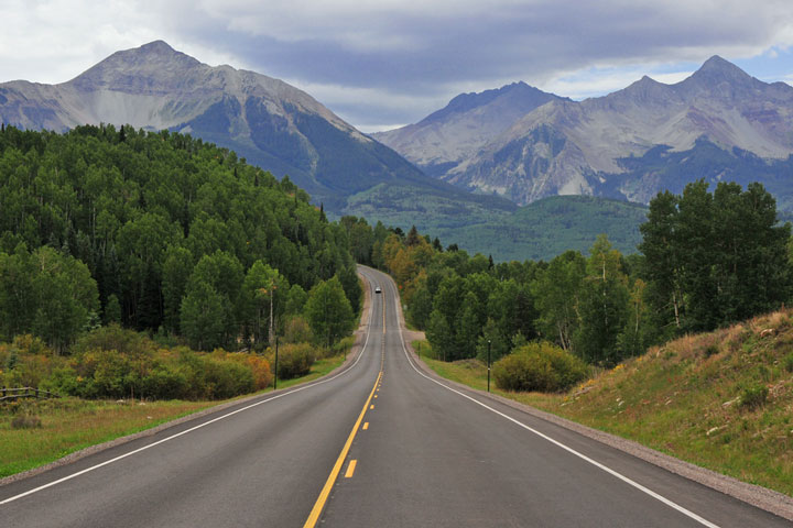 road near the San Juan Mountains, Colorado